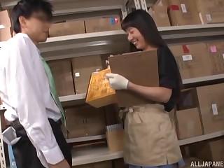 Creampie in the warehouse for naughty worker Umuri Narumi