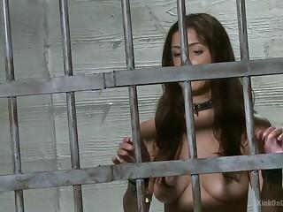 Rather versatile long-legged nympho Andrea Vixon gets handcuffed during BDSM