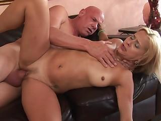 Curtain grandpa cock fucks her pierced milf pussy