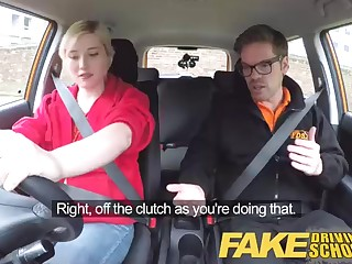Insane blondie is pummeling her professor instead of learning to drive, because she is super-naughty