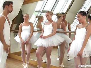 yoke youthfull lil' ballerinas share manmeat of teacher after exercise