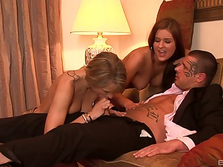Threesome anal fuck and cum in mouth for Candy Cat and Cristyna Tyr