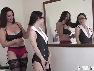 Mindi Mink and Serena Blair wear lingerie during their lesbian session