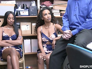 Two chocolate babes get their pussies punished in the with respect to room