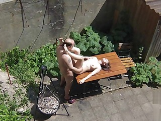 Voyeurs filming teen virago screwing with ancient janitors chiefly the terrace