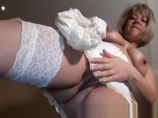 Mature English Unskilled in Girdle & Stockings strips and plays