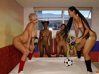 Group be advantageous to horny girls likes to play up sex toys pile up