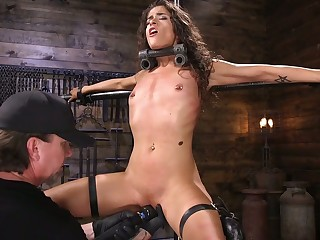 Headed up and suspended chick Victoria Voxxx gets punished apart from one eccentric dude