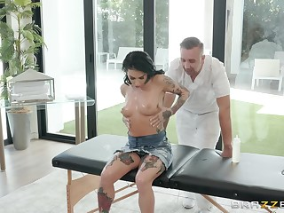 Joanna Angel loves all different sex poses with say no to horny masseur