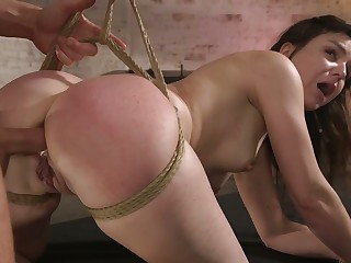 Tied up slutty nympho with sexy ass Juliette Illustrate deserves some anal