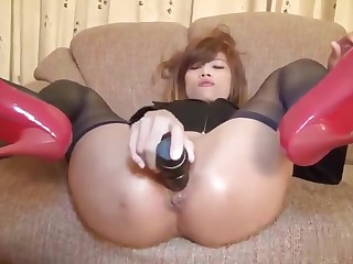Japanese golden-haired young is powerful upon anus fuck porn