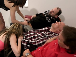 Old admass enjoying young broads sucking their dicks on cam
