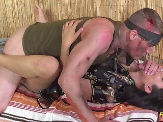 Injured soldier gets it on not far from slutty Vietnamese hottie Jureka Del Mar