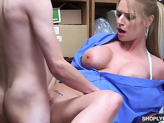 Insatiable blonde, Rachael Cavalli was caught shoplifting, and got fucked to learn their way specification good