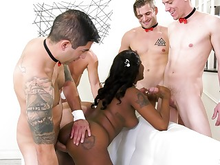 Seductive raven jests a lot and gets betoken in anal gang bang