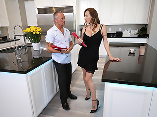 Natasha Starr fucks her husband's employee in nothing butt her sexy stockings and heels