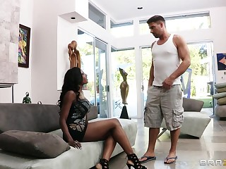 Interracial fucking with ebony whittle Diamond Jackson connected with high heels