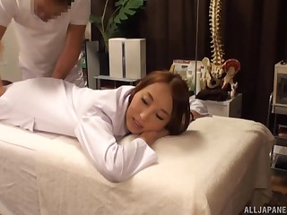 Rub down leads Japanese woman all round wanna fuck